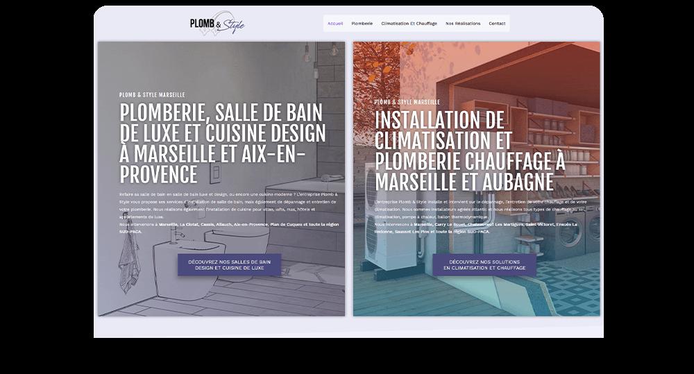 Agence communication M COM Marseille 13012 Création de site web internet et référencement publicité SEO campagne emailing plomb et style